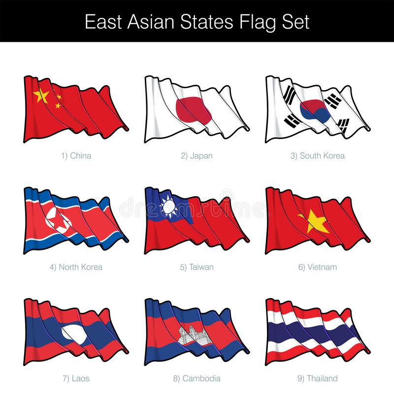 挥动旗子集合的东亚状态 库存例证