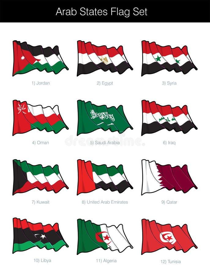 挥动旗子集合的阿拉伯国家 库存例证