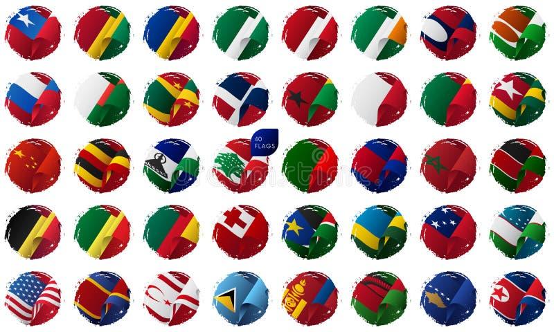 挥动的世界旗子设置,掠过冲程背景 也corel凹道例证向量 向量例证