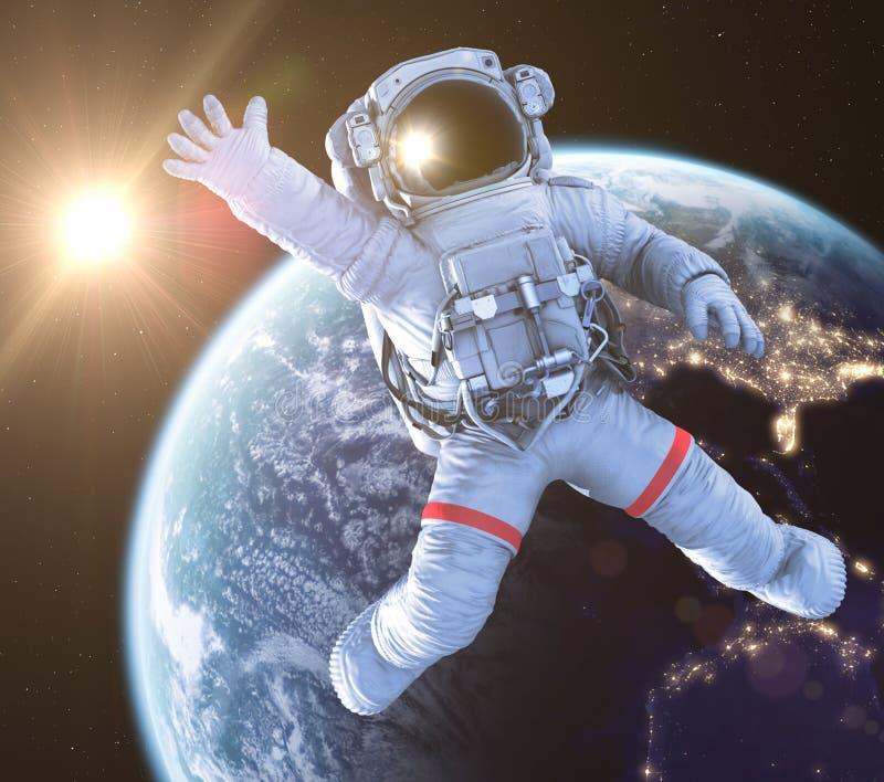 挥动的宇航员, 3d回报 向量例证