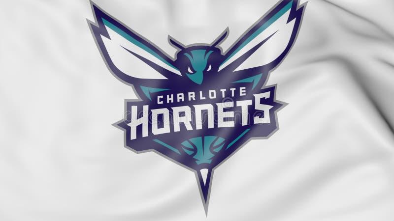挥动的旗子特写镜头与夏洛特黄蜂队美国职篮蓝球队商标, 3D的翻译 皇族释放例证
