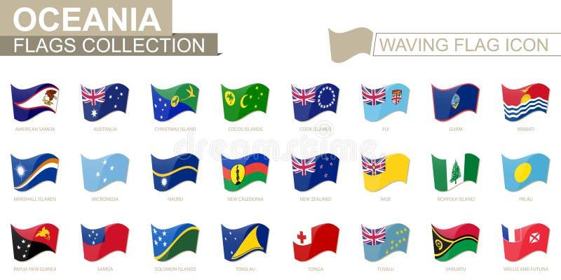 挥动的旗子象,大洋洲国家旗子依字母顺序类别的 向量例证