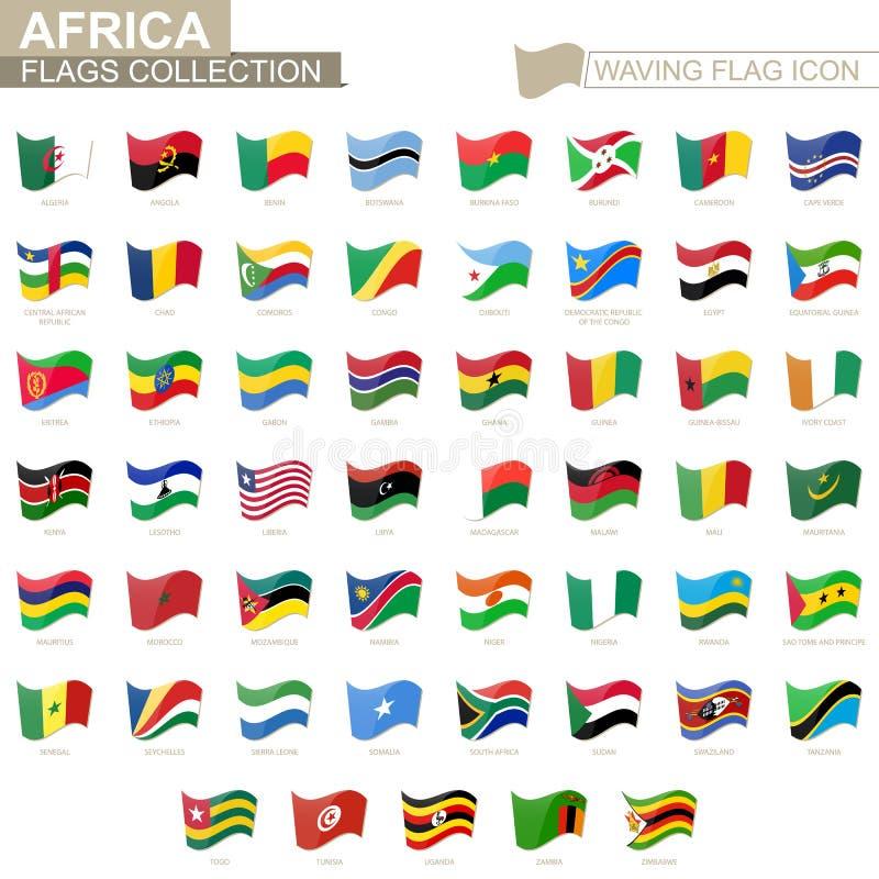 挥动的旗子象,非洲国家旗子依字母顺序类别的 皇族释放例证