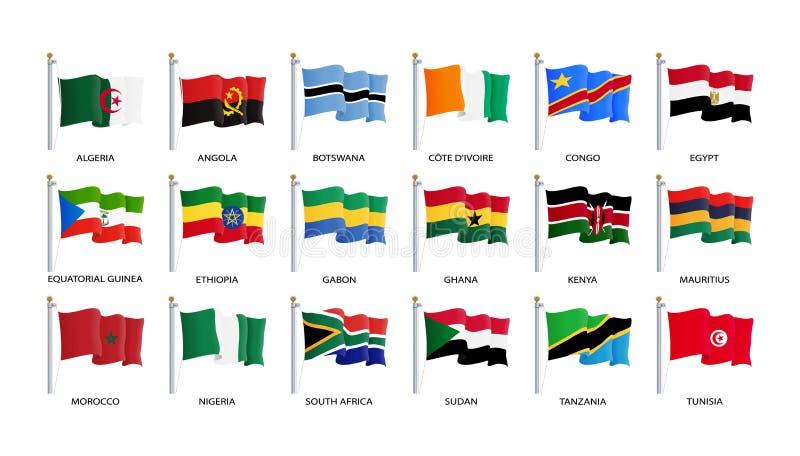 挥动的旗子象,非洲国家旗子依字母顺序类别的 r 向量例证