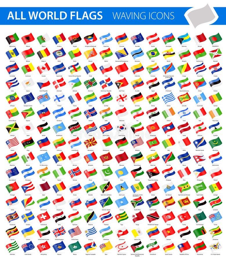 挥动的旗子象-所有世界传染媒介 库存例证