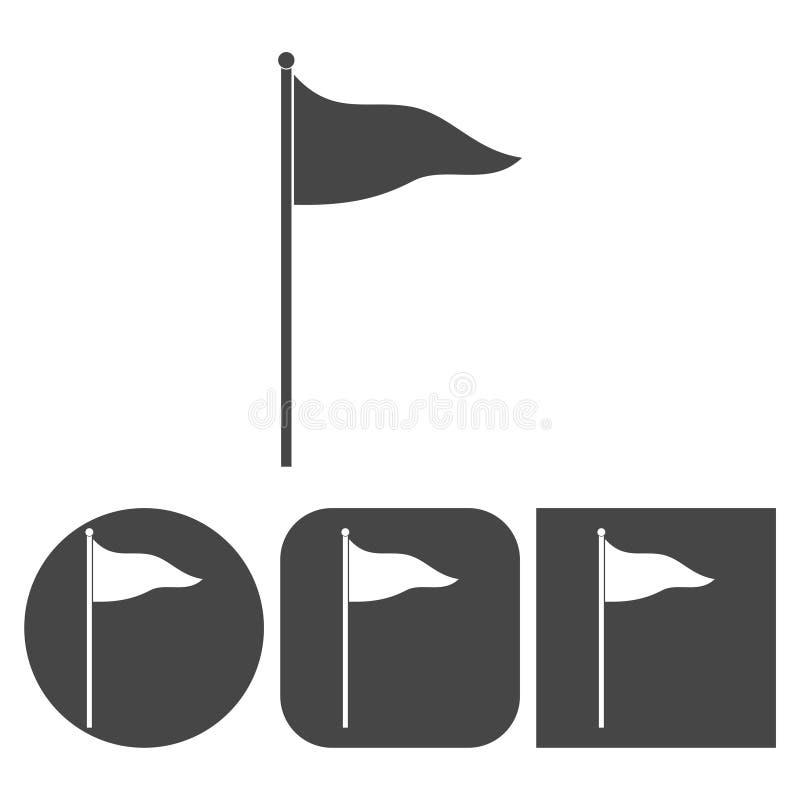 挥动的旗子象-被设置的传染媒介象 向量例证