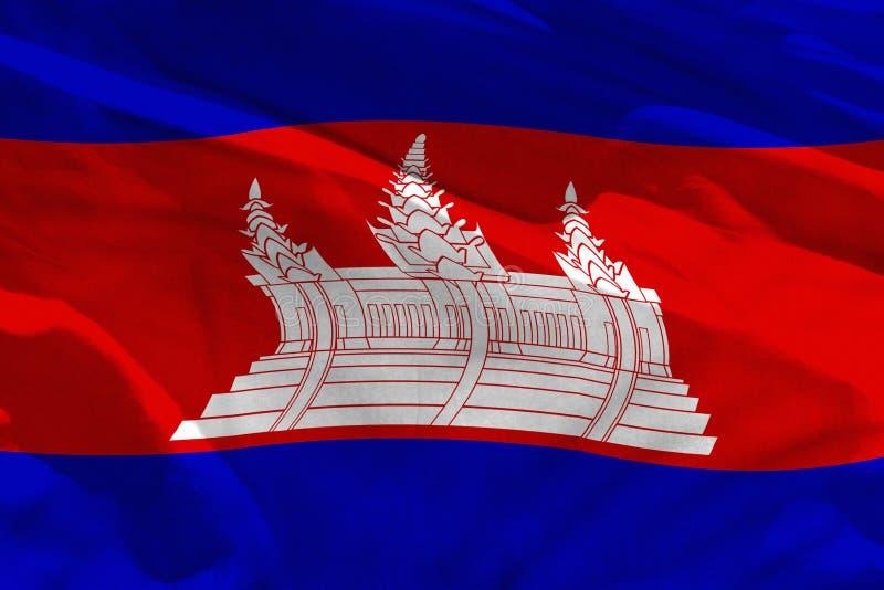 挥动的柬埔寨旗子为使用作为纹理或背景,旗子在风振翼 皇族释放例证