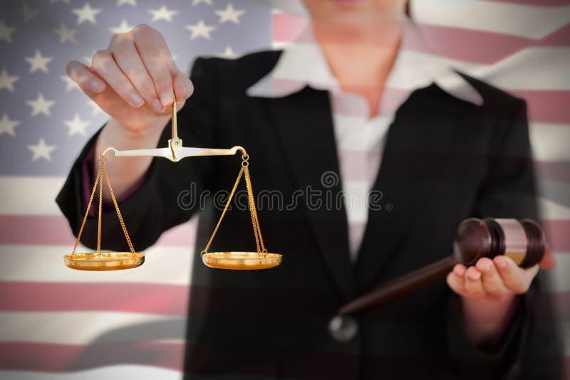 挥动美国国旗的综合图象 免版税图库摄影