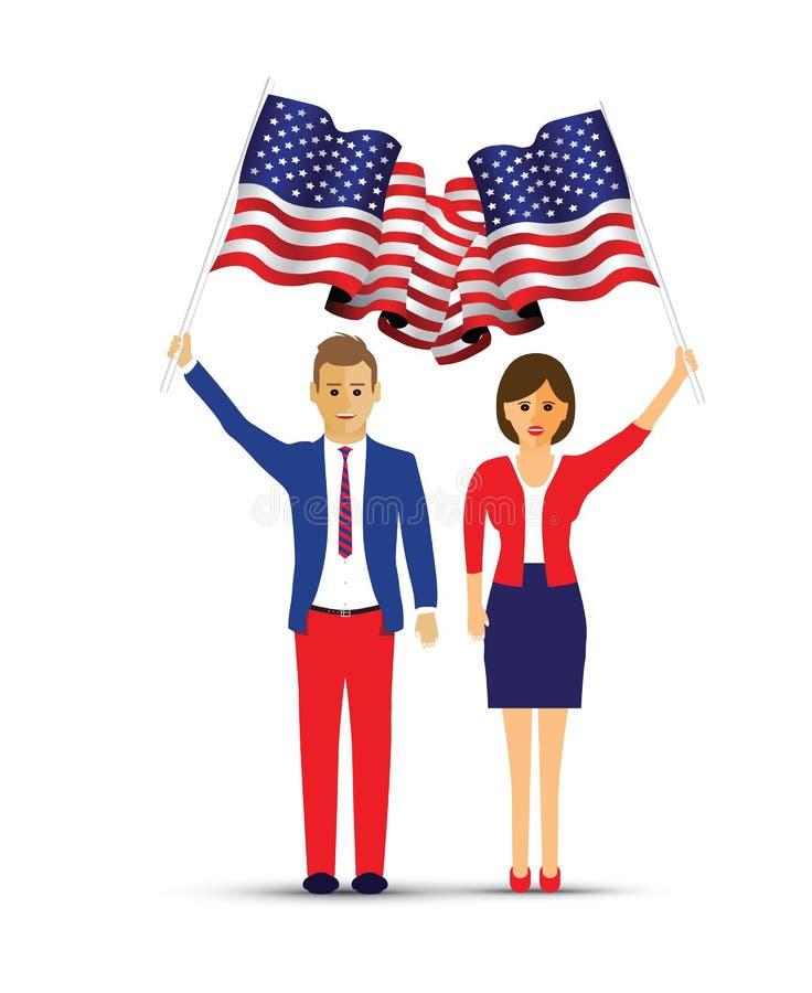 挥动美国旗子的夫妇 库存例证