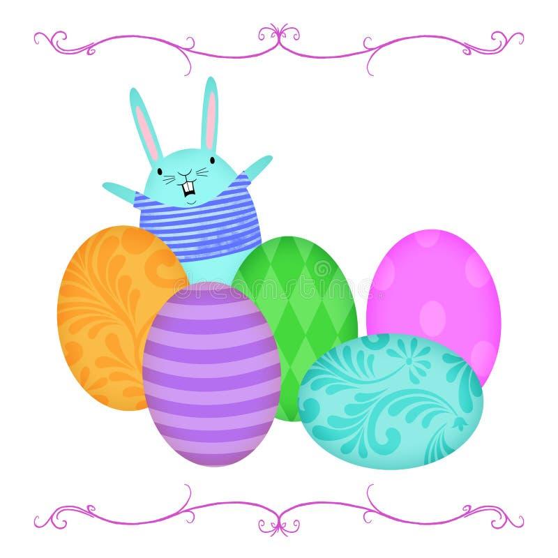 挥动从复活节彩蛋后面行的复活节兔子  向量例证