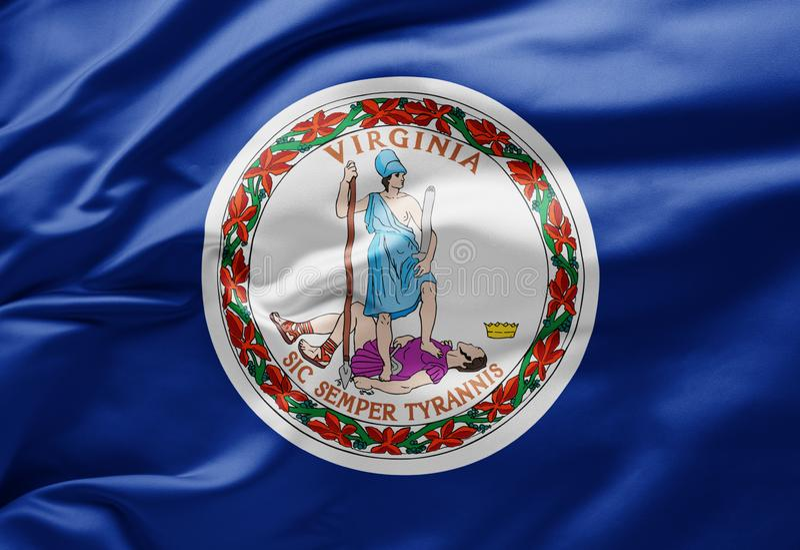 挥舞美利坚合众国弗吉尼亚州州旗 库存图片