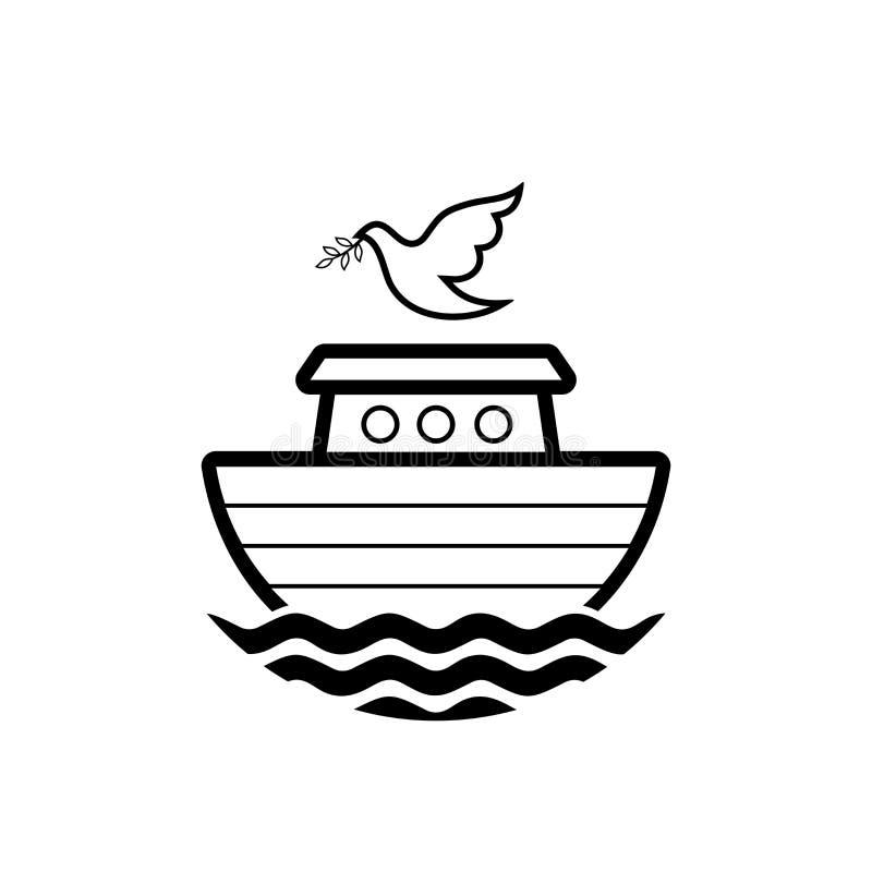 挪亚方舟商标  与橄榄分支的鸠  抢救动物和人的船从洪水 圣经的例证 库存例证