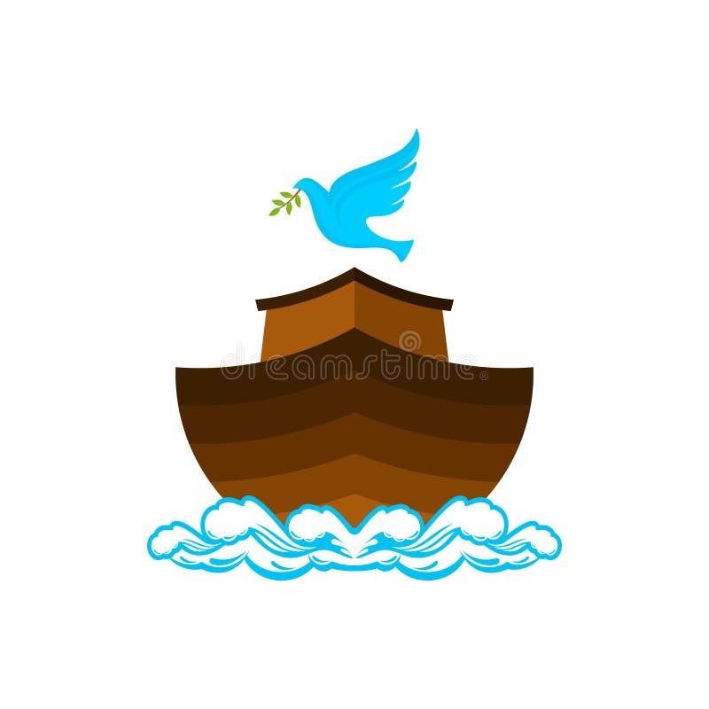 挪亚方舟商标  与橄榄分支的鸠  抢救动物和人的船从洪水 圣经的例证 向量例证