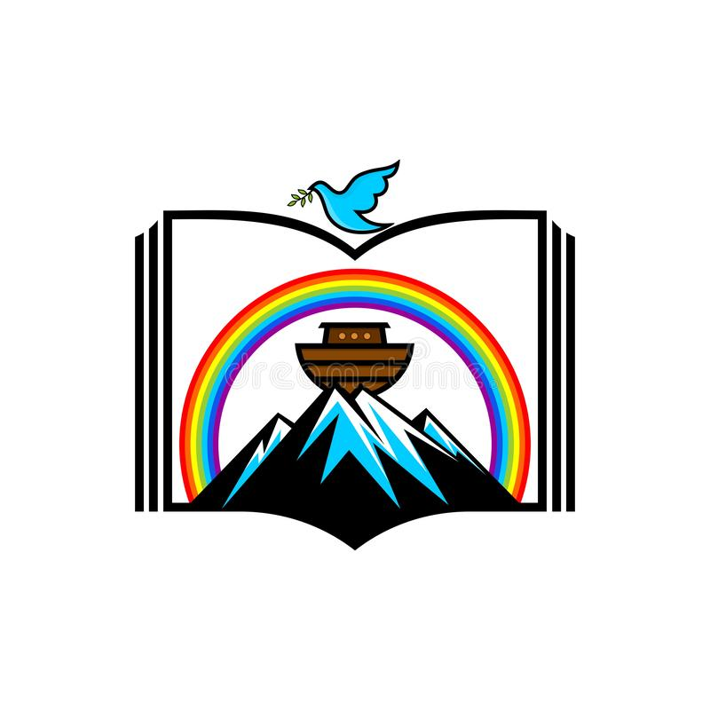 挪亚方舟商标  彩虹-契约的标志 与橄榄分支的鸠  抢救动物和人的船 向量例证
