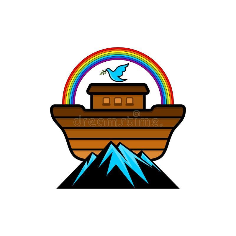 挪亚方舟商标  彩虹-契约的标志 与橄榄分支的鸠  抢救动物和人的船 库存例证