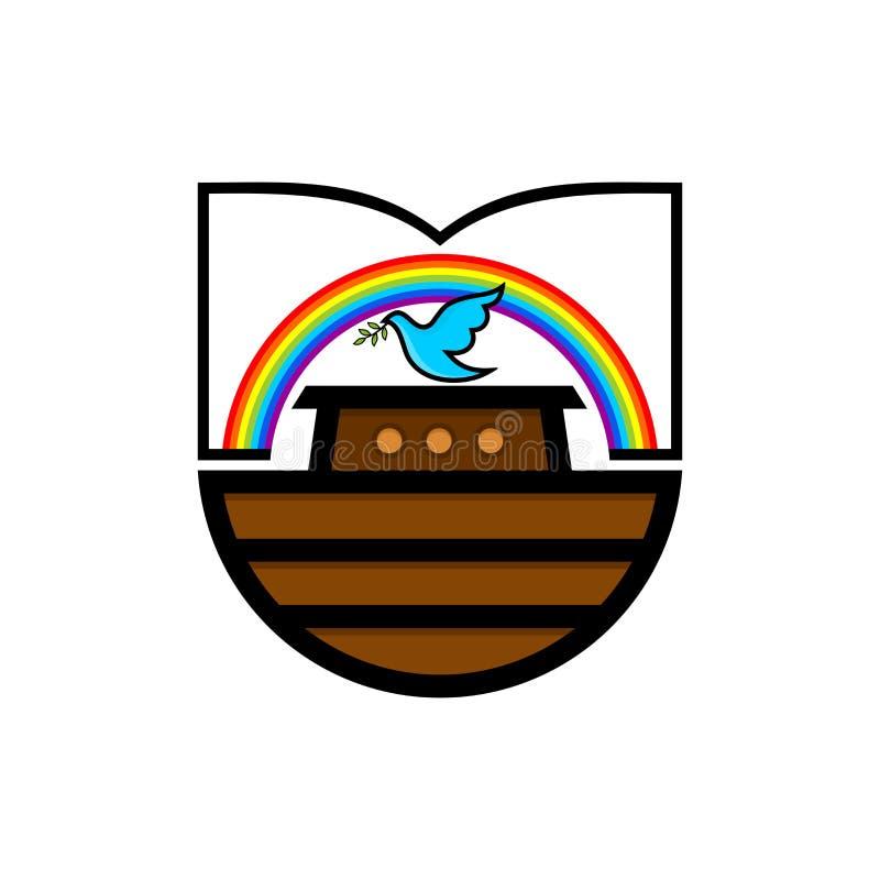 挪亚方舟商标  彩虹-契约的标志 与橄榄分支的鸠  抢救动物和人的船 皇族释放例证