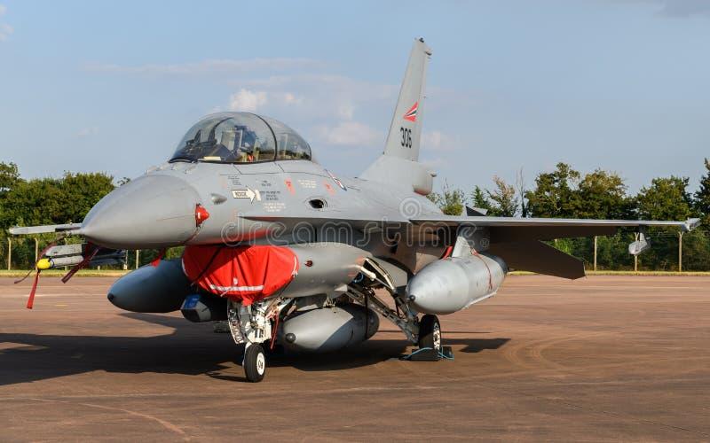 挪威人空军队F-16战斗机航空器 免版税库存图片