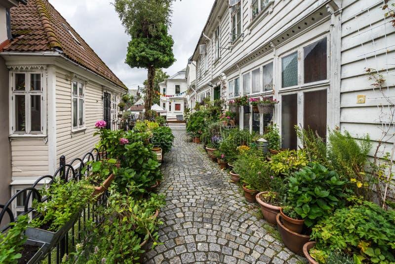 挪威卑尔根风景如画的鹅卵石街道装饰精美的植物和鲜花 免版税库存图片