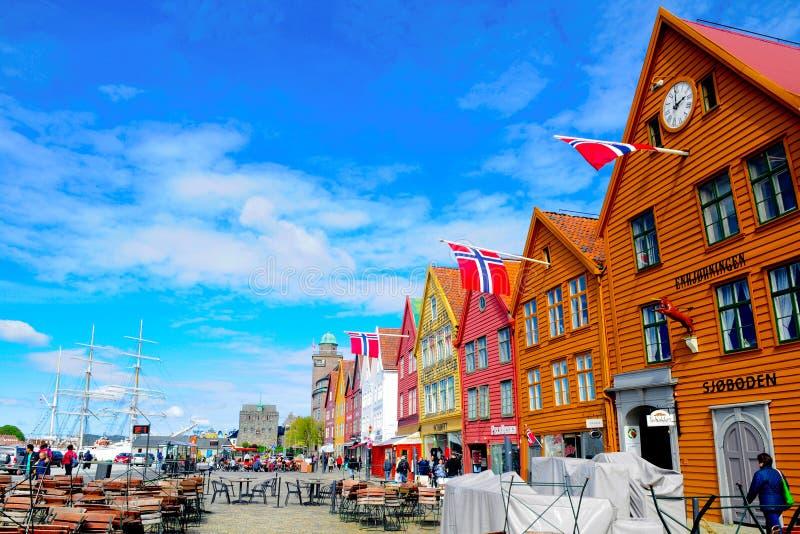 挪威卑尔根,布吕根中世纪大厦,旅行北部欧洲 免版税图库摄影