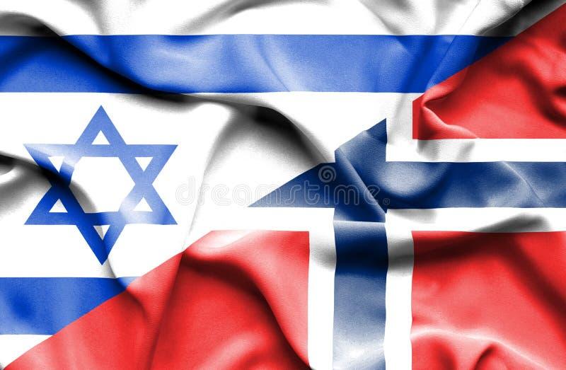 挪威和以色列的挥动的旗子 向量例证