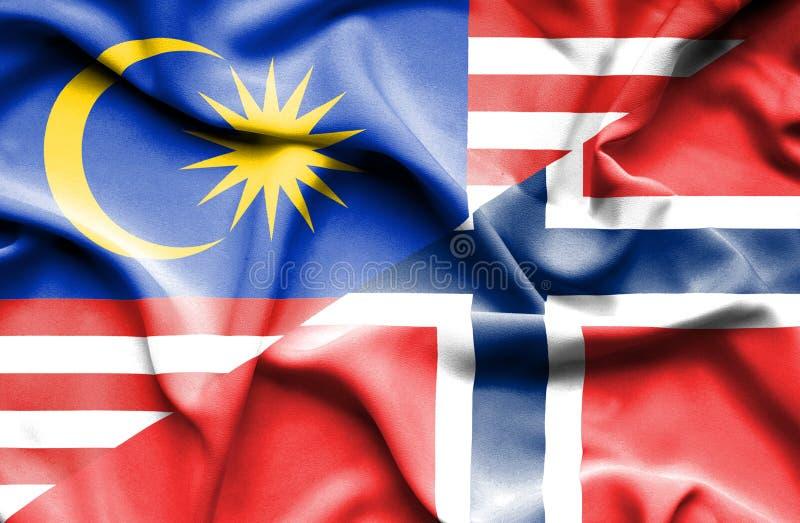 挪威和马来西亚的挥动的旗子 向量例证
