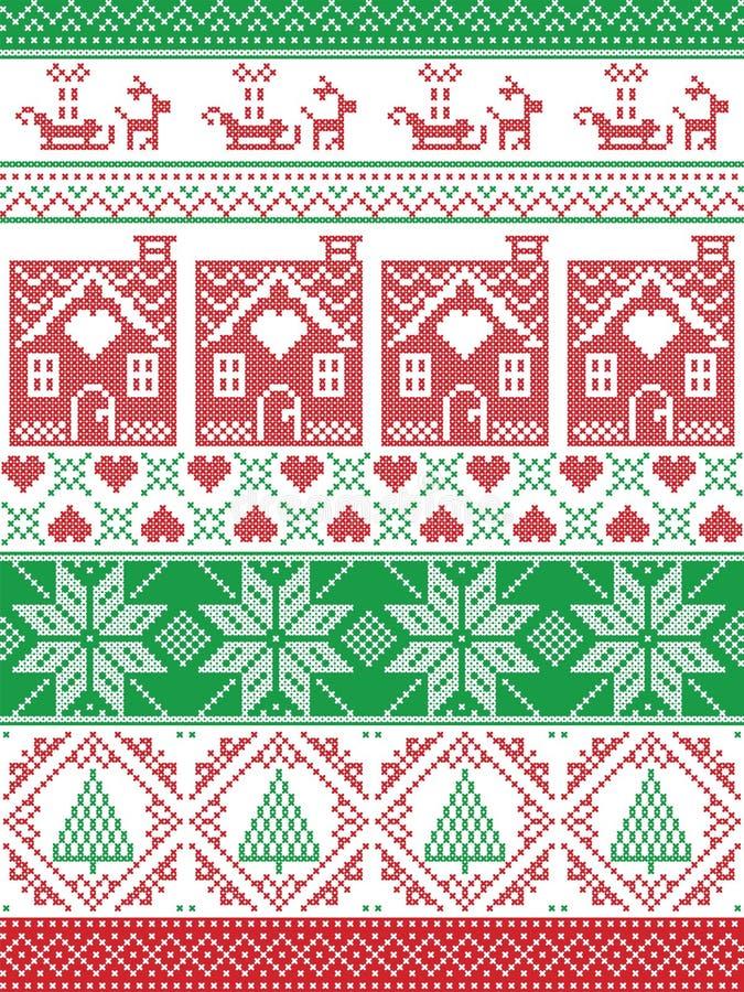 挪威圣诞节,欢乐在发怒针的冬天无缝的样式与华而不实的屋,圣诞树,心脏,驯鹿 库存例证