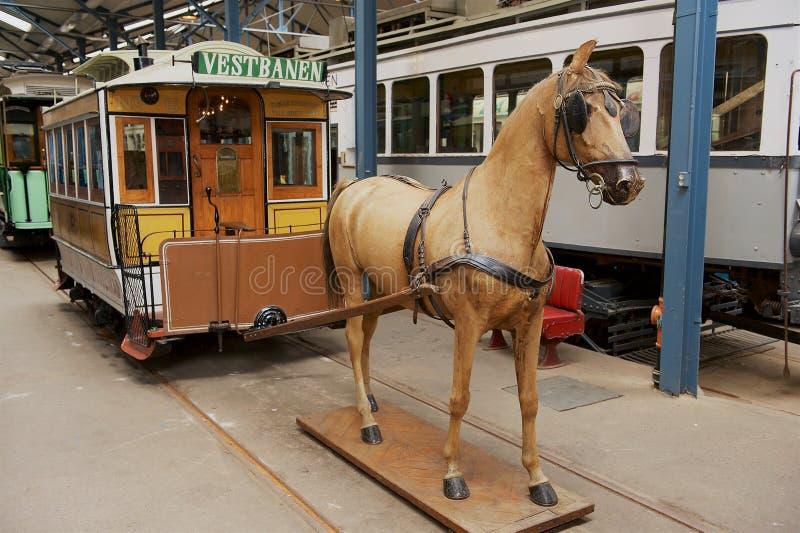 挪威奥斯陆Sporveismuset - Tramway运输博物馆展览 免版税图库摄影