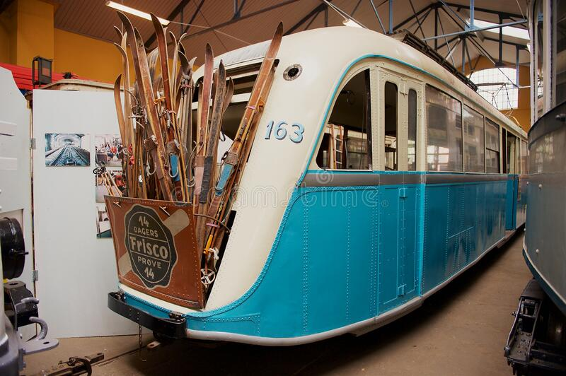 挪威奥斯陆Sporveismuset - Tramway运输博物馆展览 库存照片