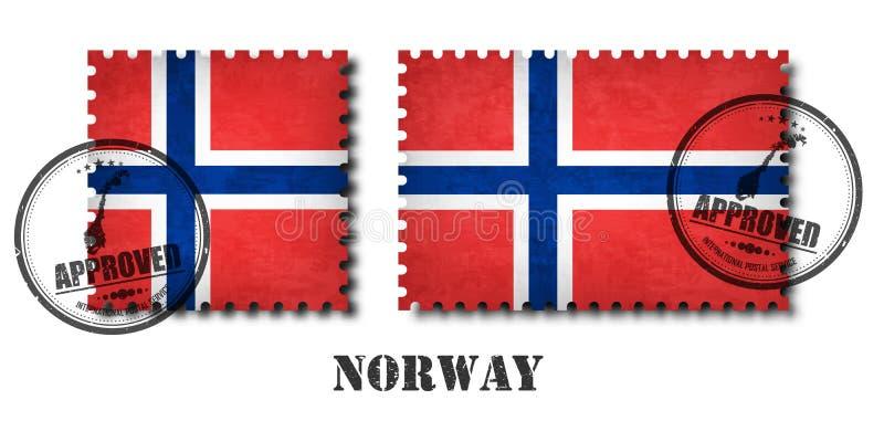 挪威或挪威旗子样式邮票与难看的东西老抓痕纹理和盖一个章在被隔绝的背景 黑col 向量例证