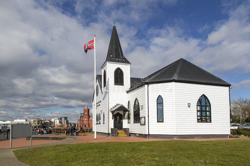 挪威教会艺术中心加的夫 免版税库存图片