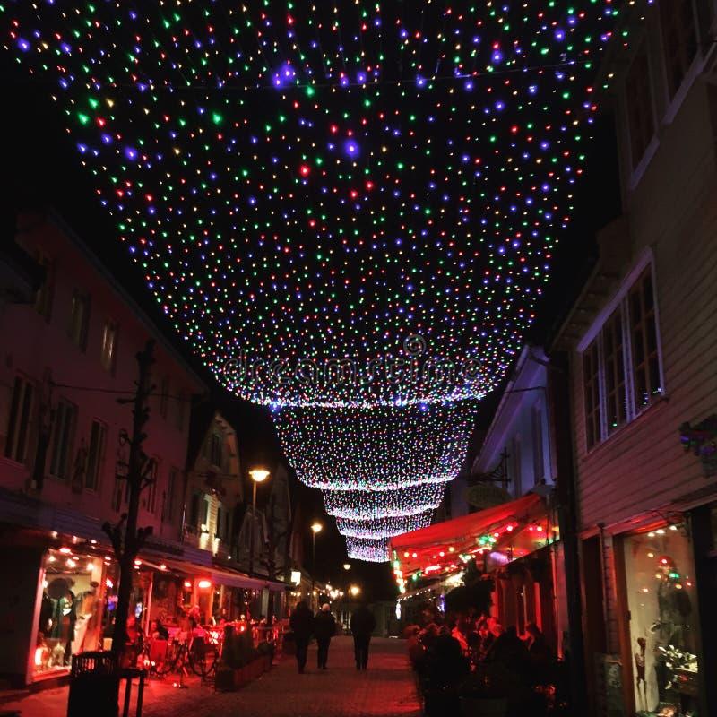 挪威斯塔万格的五彩街 免版税库存照片
