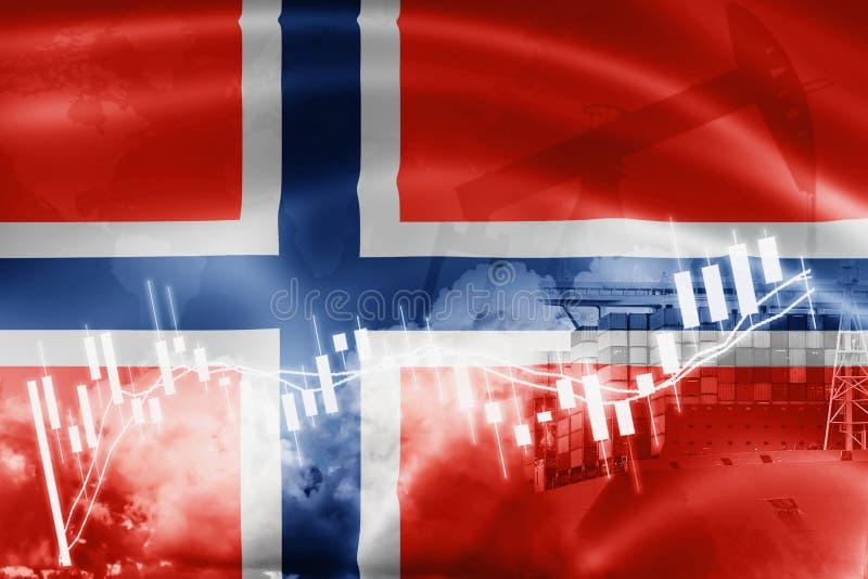 挪威旗子、股票市场、交换经济和贸易,石油生产,在出口的集装箱船和进口业和后勤学 图库摄影