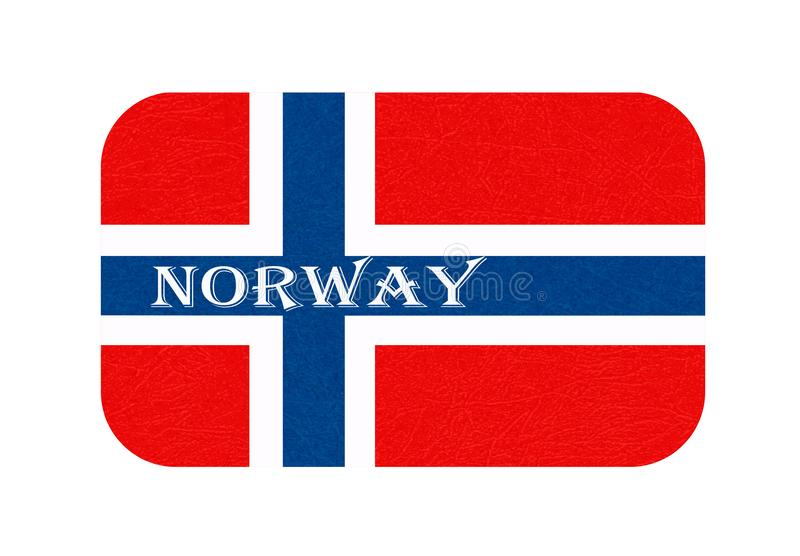 挪威旗子,斯堪的纳维亚国家,与被抓的纹理,难看的东西的被隔绝的挪威横幅 库存例证