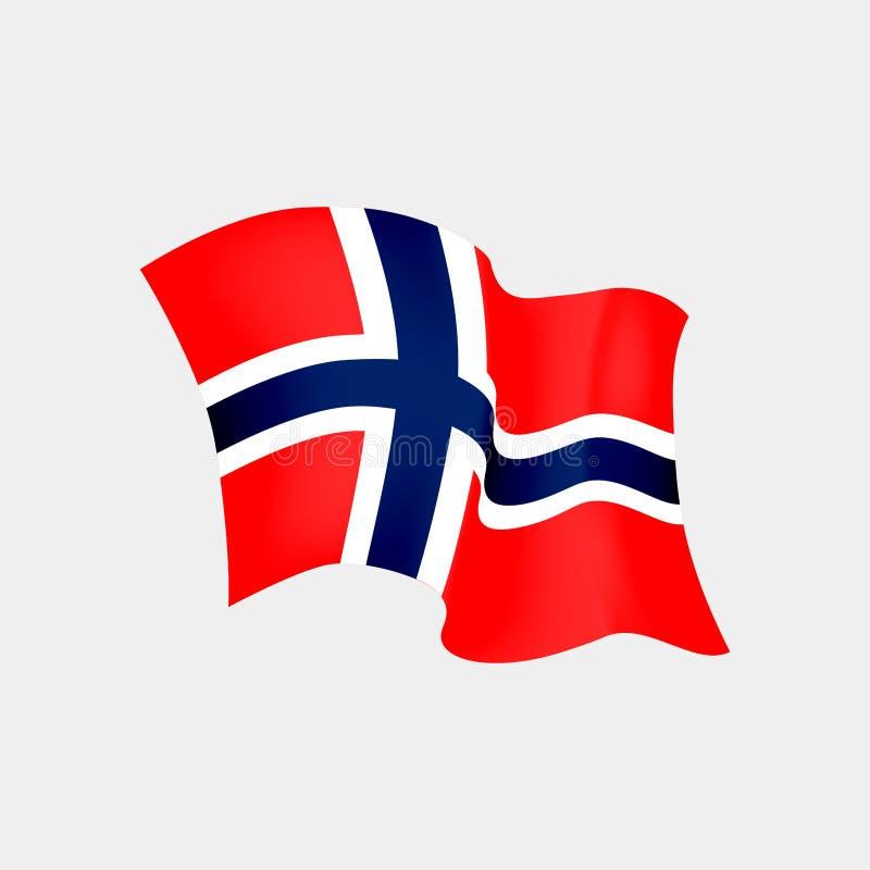 挪威旗子 挪威旗子的传染媒介例证在风的,隔绝在黑背景 库存例证