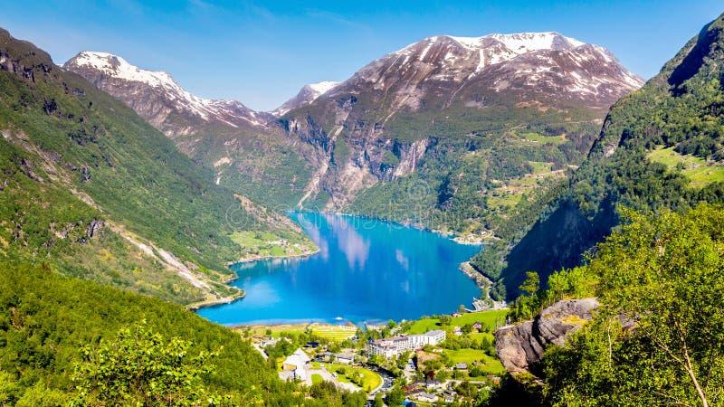 挪威海湾Geiranger挪威 免版税库存照片
