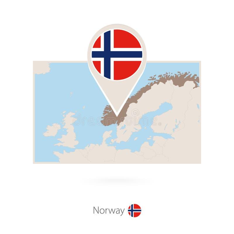 挪威的长方形地图有挪威的别针象的 皇族释放例证