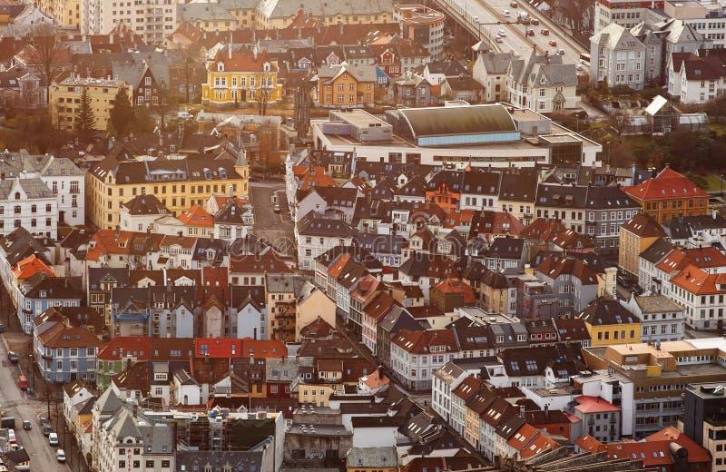 挪威视图的卑尔根市从上面 免版税图库摄影
