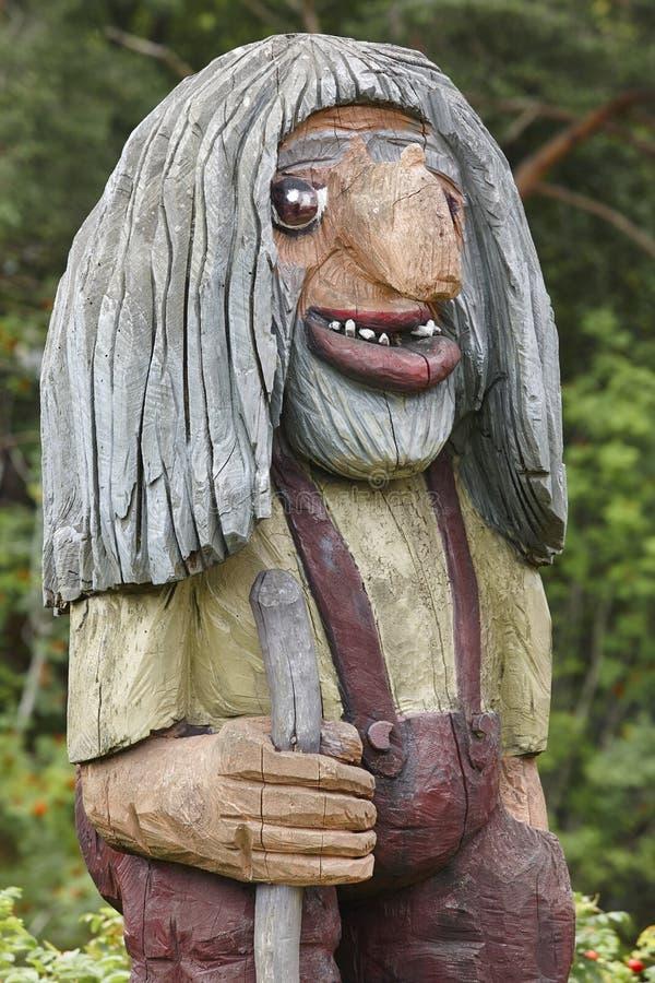 挪威语被雕刻的木面孔细节拖钓 斯堪的纳维亚民间传说 免版税库存图片