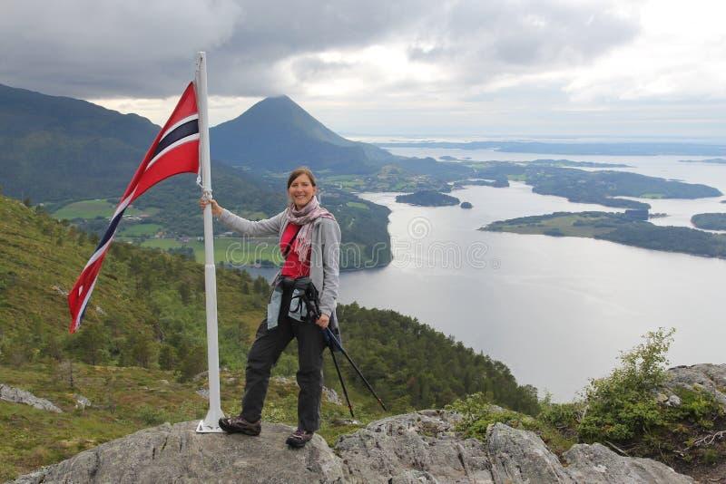 挪威远足游人 免版税库存图片