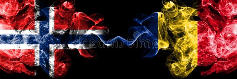 挪威,挪威语,罗马尼亚,罗马尼亚竞争厚实的五颜六色的发烟性旗子 欧洲橄榄球资格比赛 库存图片