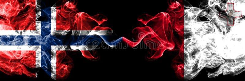 挪威,挪威语,马耳他,马尔他,轻碰竞争厚实的五颜六色的发烟性旗子 欧洲橄榄球资格比赛 免版税图库摄影