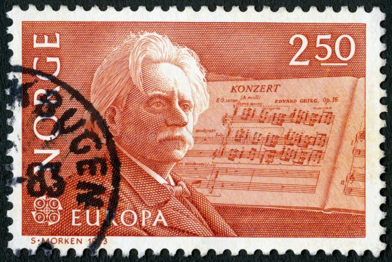 挪威- 1983年:展示Edvard Hagerup格里格1843-1907,作曲家和他的钢琴协奏曲在较小 库存照片
