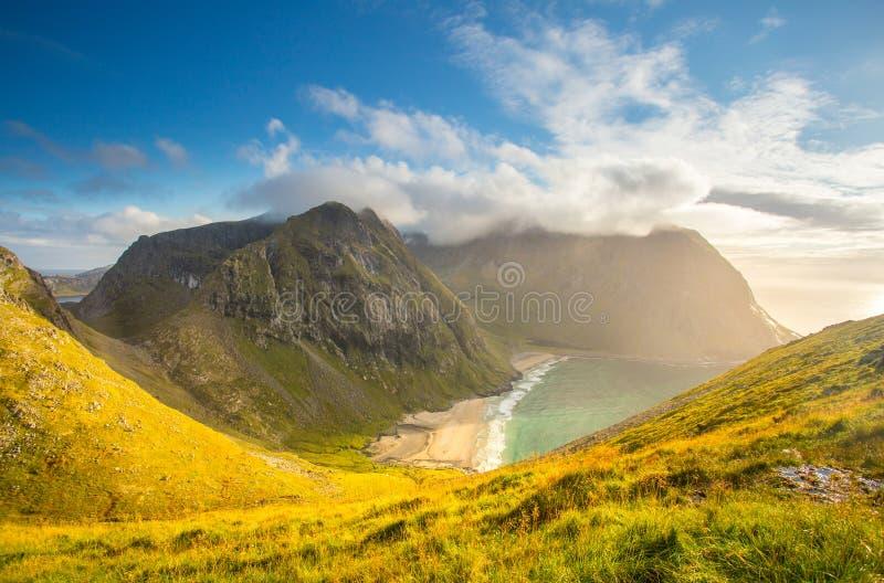 挪威 海岛lofoten 秋天美好的横向 与软的草的晴朗的小山由平衡照亮的峡湾太阳 图库摄影