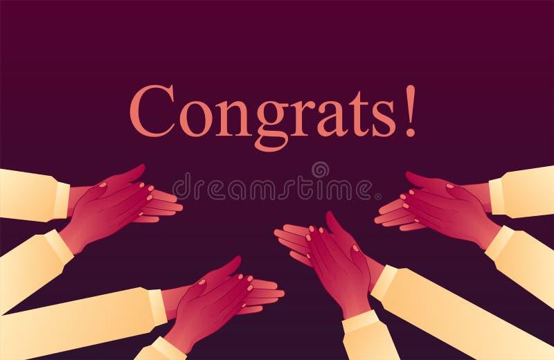 振作起来与成功的掌声 拍他们的手,热烈的欢迎风暴  祝贺鼓掌 皇族释放例证