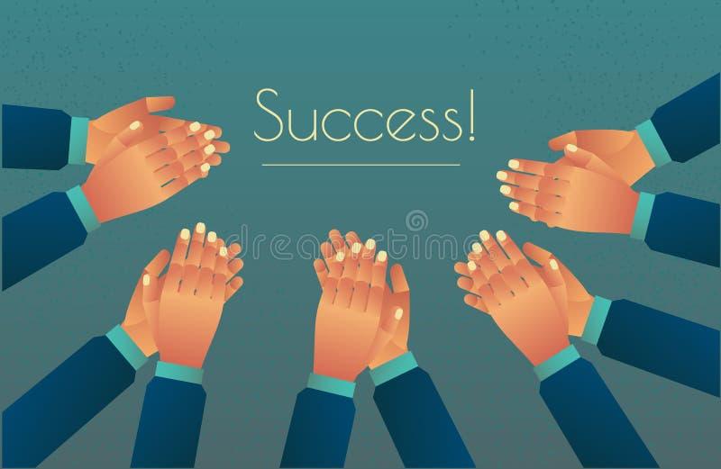 振作起来与成功的掌声 拍他们的手,热烈的欢迎风暴  祝贺鼓掌 向量例证