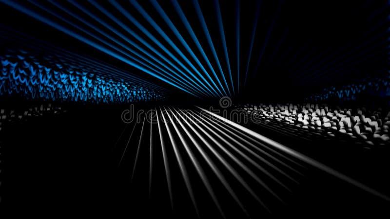 振动和移动在黑背景,无缝的圈的抽象3d线 o 一半蓝色一半灰色流动 向量例证