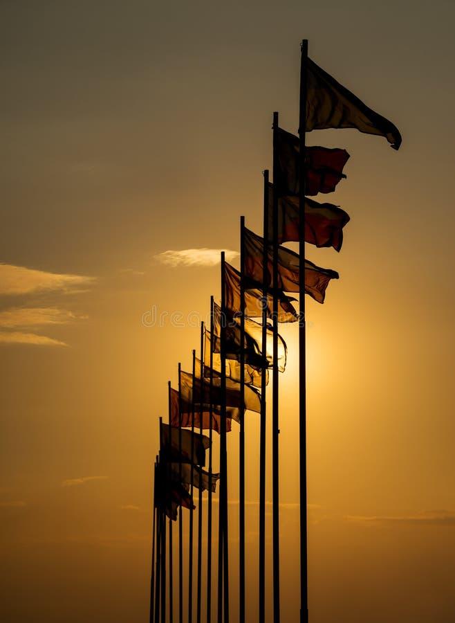 振翼在风的国际旗子 免版税库存照片