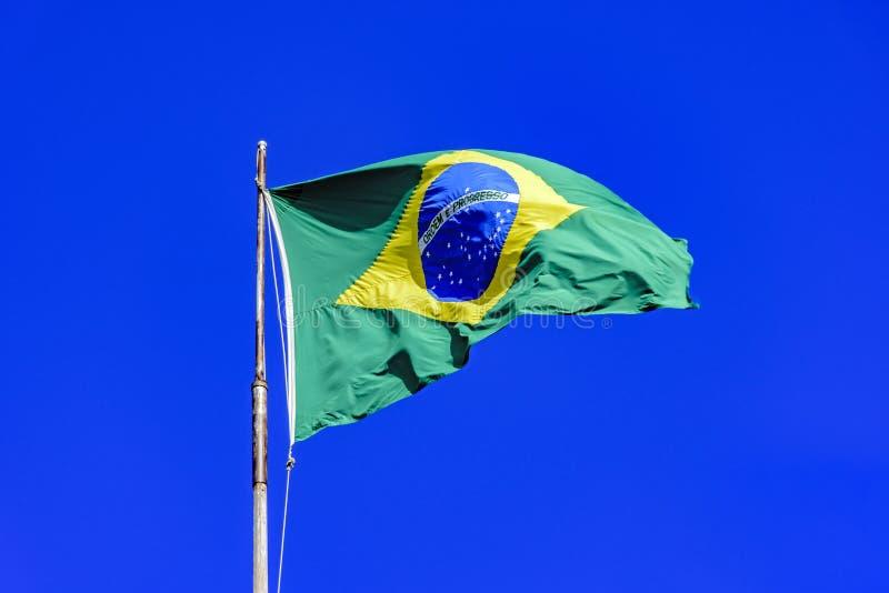 振翼在风的巴西旗子 库存图片