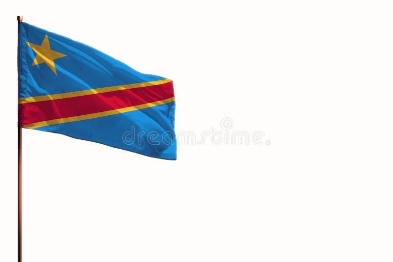 振翼的刚果民主共和国隔绝了在白色背景,与空间的大模型的旗子您的内容的 免版税库存图片