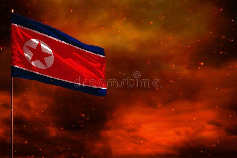 振翼的朝鲜民主主义人民共和国北朝鲜下垂与空白的大模型您的在绯红天空的文本的与s 向量例证